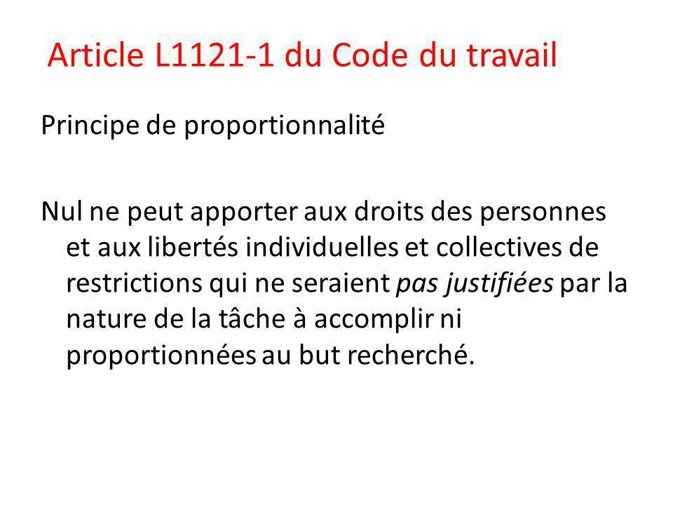 Article L1121-1 du Code du travail
