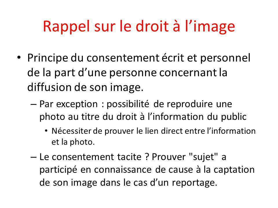 Rappel sur le droit à l'image