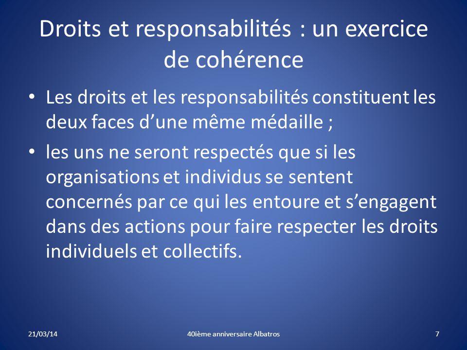 Droits et responsabilités : un exercice de cohérence