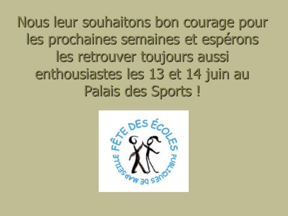 Nous leur souhaitons bon courage pour les prochaines semaines et espérons les retrouver toujours aussi enthousiastes les 13 et 14 juin au Palais des Sports !