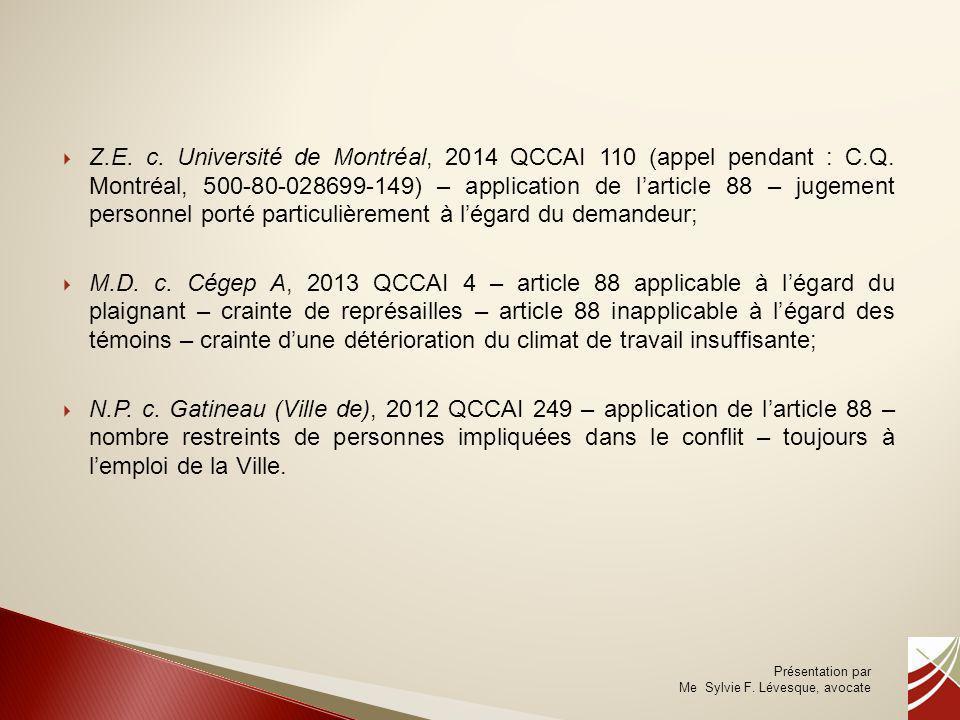 Z. E. c. Université de Montréal, 2014 QCCAI 110 (appel pendant : C. Q
