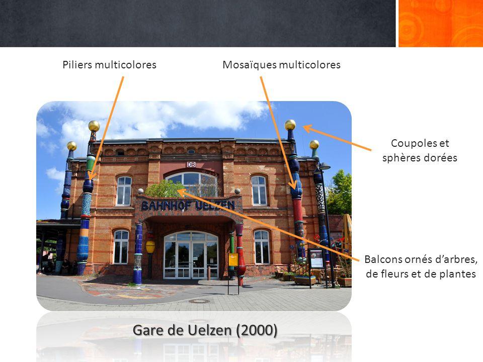 Gare de Uelzen (2000) Piliers multicolores Mosaïques multicolores