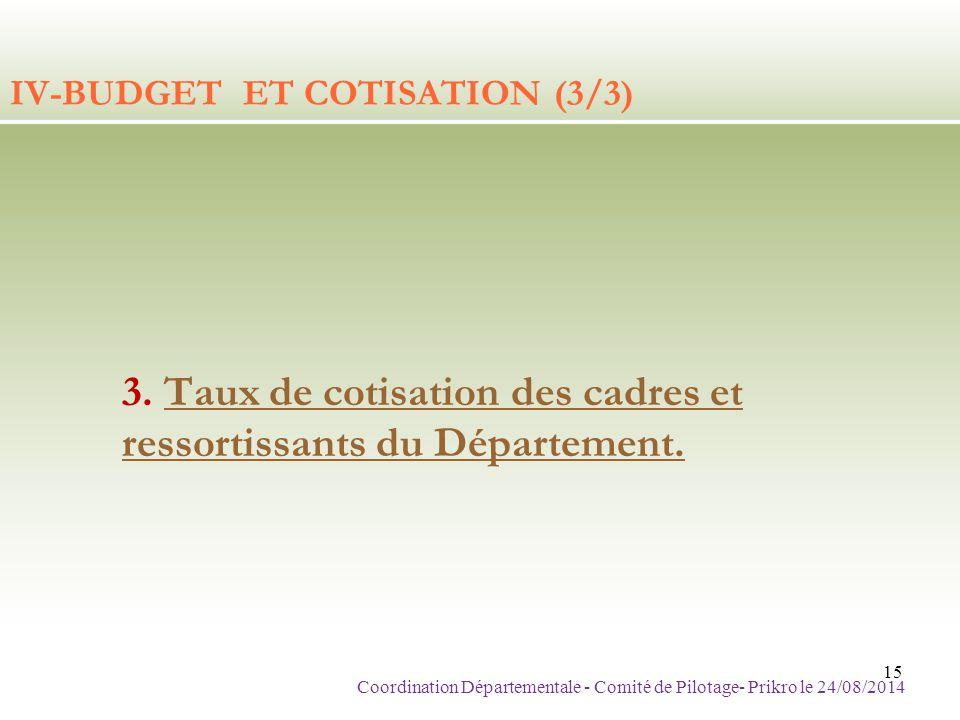 IV-BUDGET ET COTISATION (3/3)