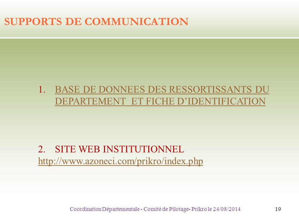 SUPPORTS DE COMMUNICATION