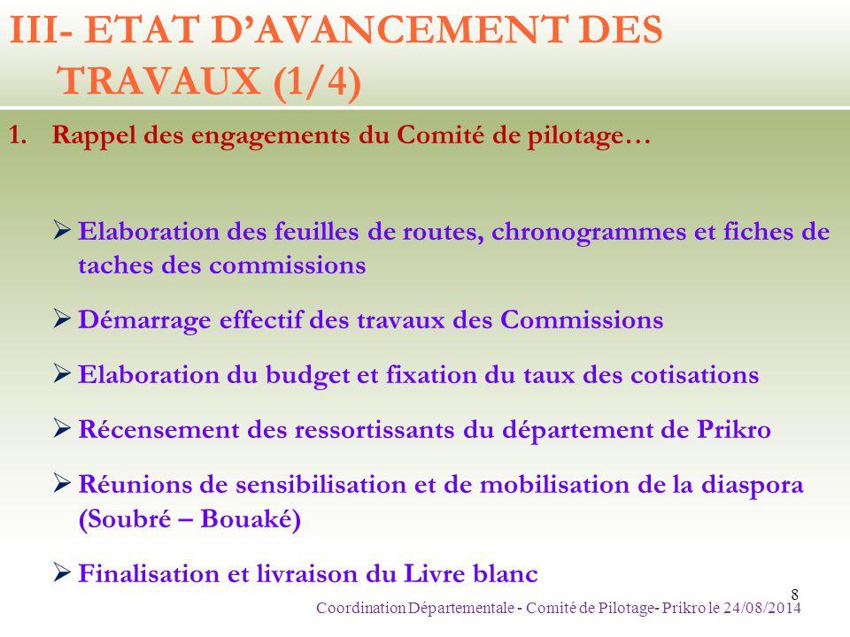III- ETAT D'AVANCEMENT DES TRAVAUX (1/4)