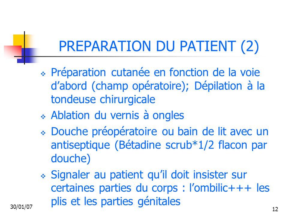 PREPARATION DU PATIENT (2)