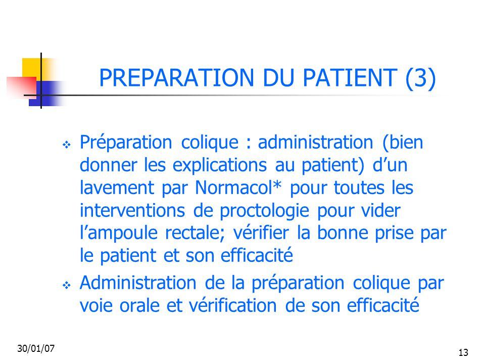 PREPARATION DU PATIENT (3)