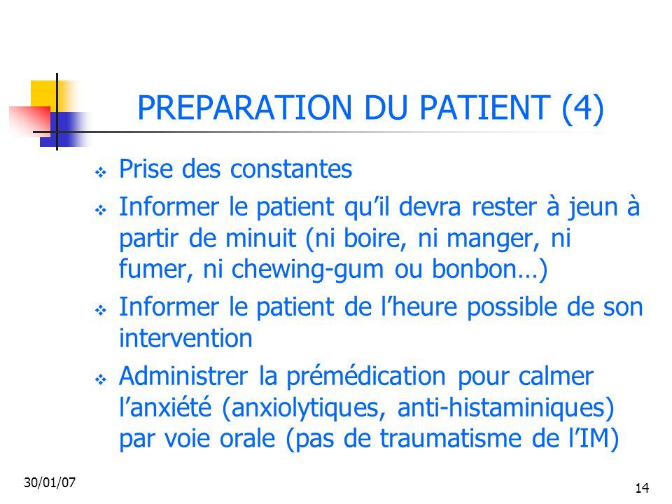 PREPARATION DU PATIENT (4)