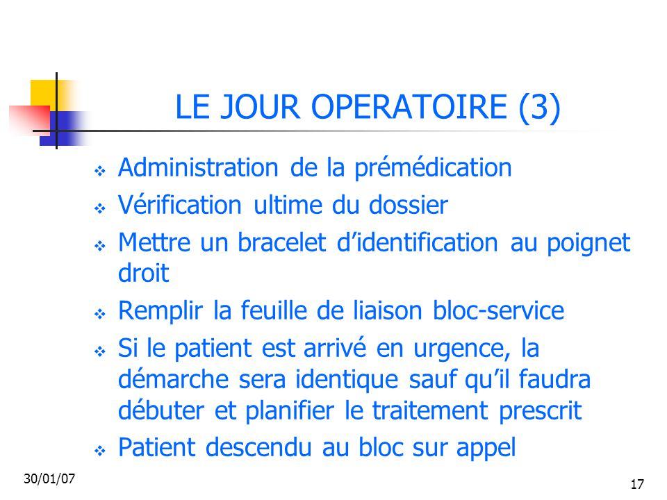 LE JOUR OPERATOIRE (3) Administration de la prémédication