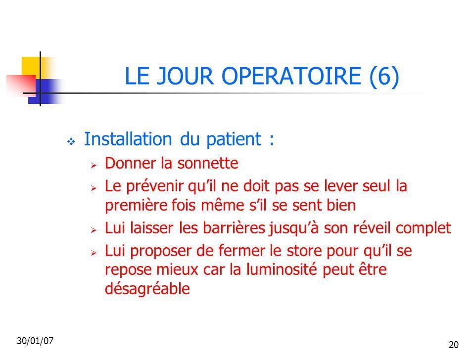 LE JOUR OPERATOIRE (6) Installation du patient : Donner la sonnette