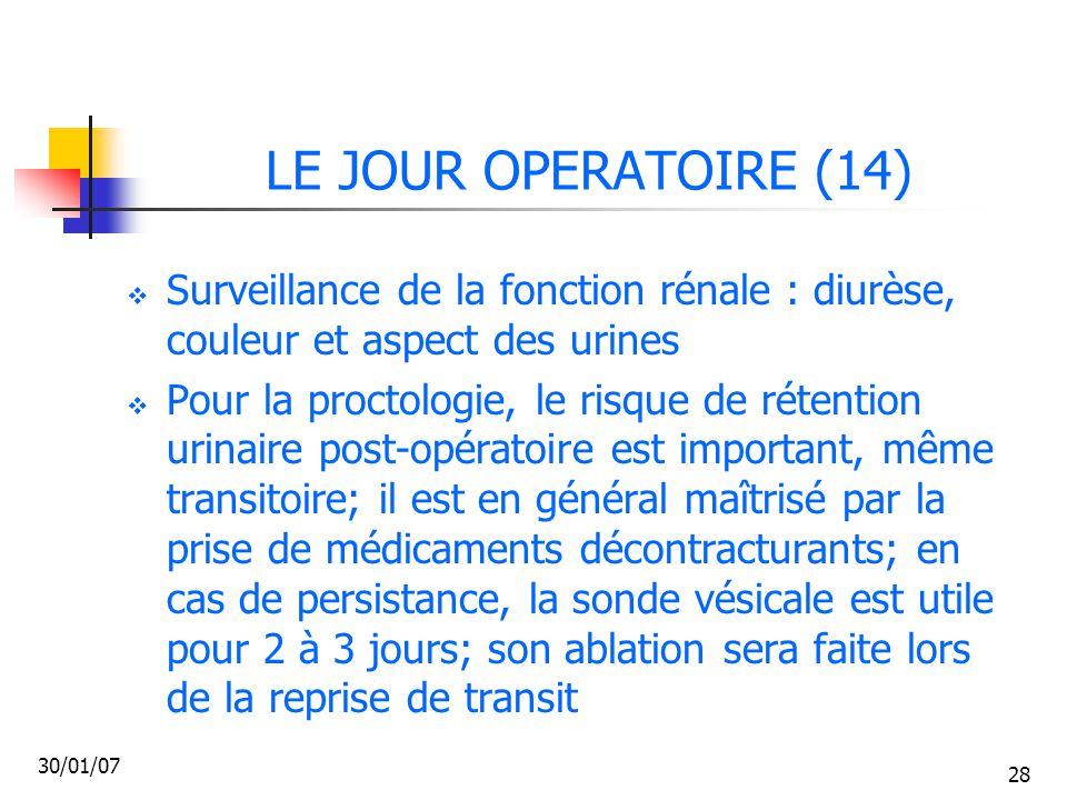 LE JOUR OPERATOIRE (14) Surveillance de la fonction rénale : diurèse, couleur et aspect des urines.
