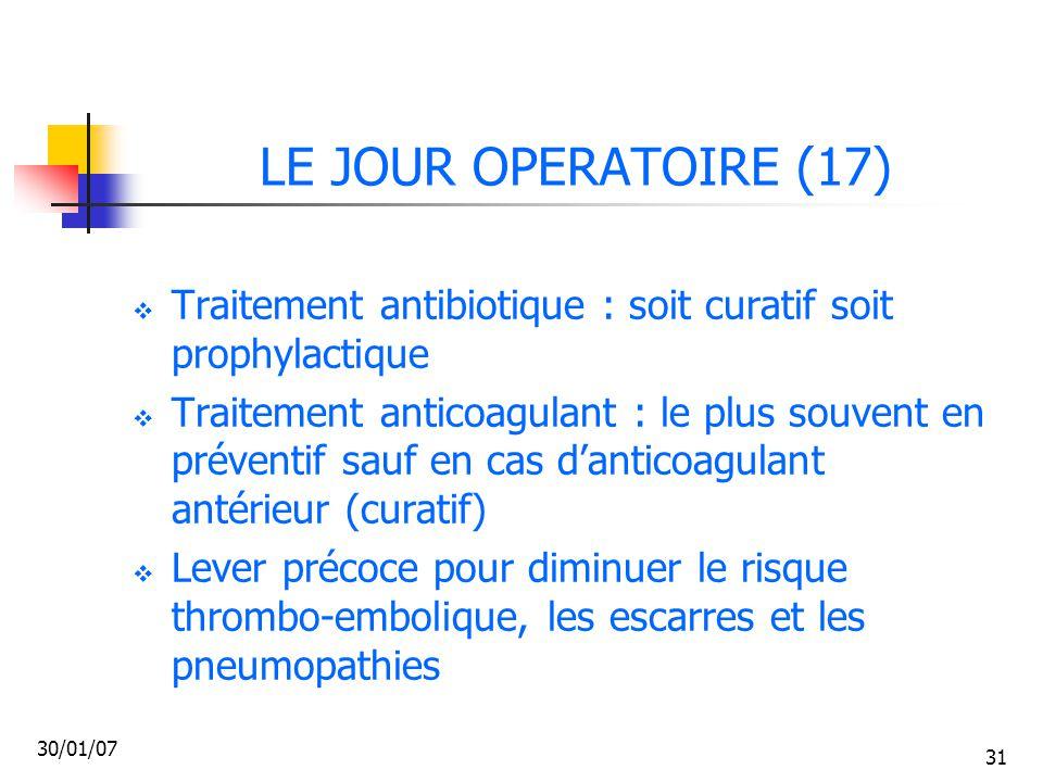 LE JOUR OPERATOIRE (17) Traitement antibiotique : soit curatif soit prophylactique.