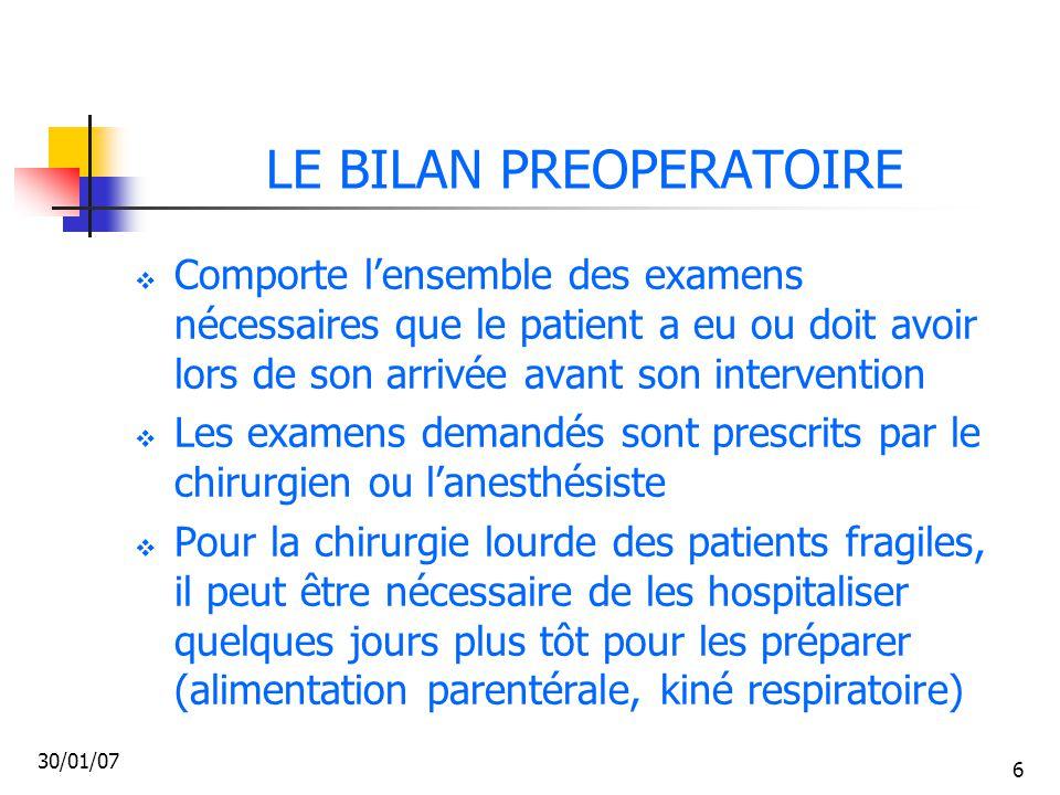 LE BILAN PREOPERATOIRE