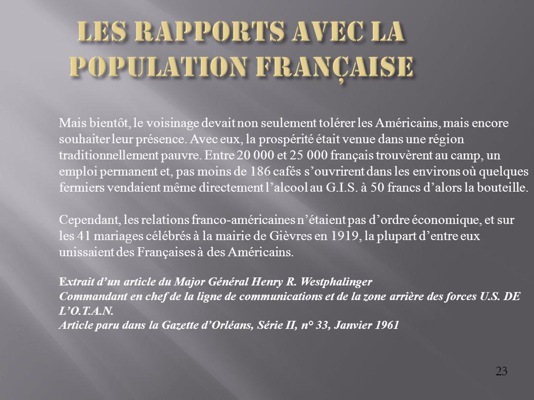 Les rapports avec la population française