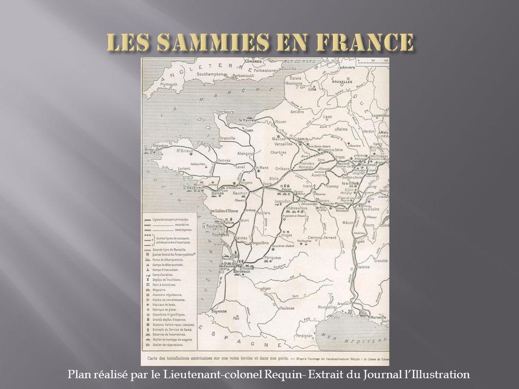 Les Sammies en France Plan réalisé par le Lieutenant-colonel Requin- Extrait du Journal l'Illustration.