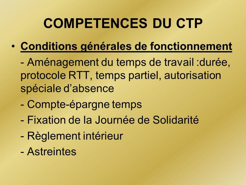 COMPETENCES DU CTP Conditions générales de fonctionnement