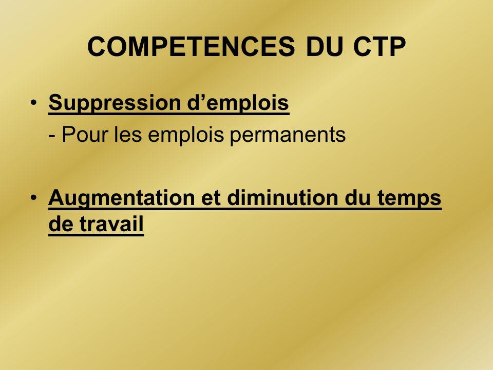 COMPETENCES DU CTP Suppression d'emplois - Pour les emplois permanents