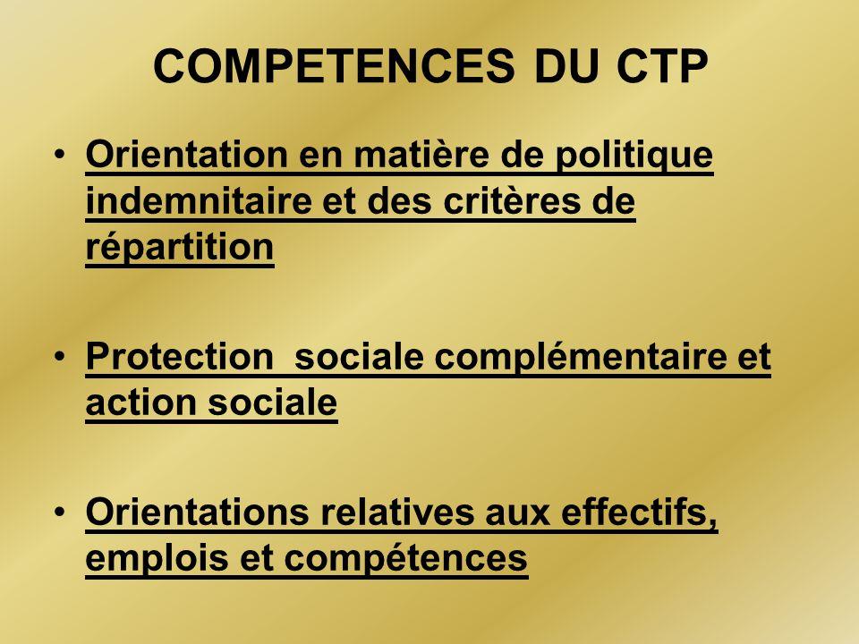 COMPETENCES DU CTP Orientation en matière de politique indemnitaire et des critères de répartition.