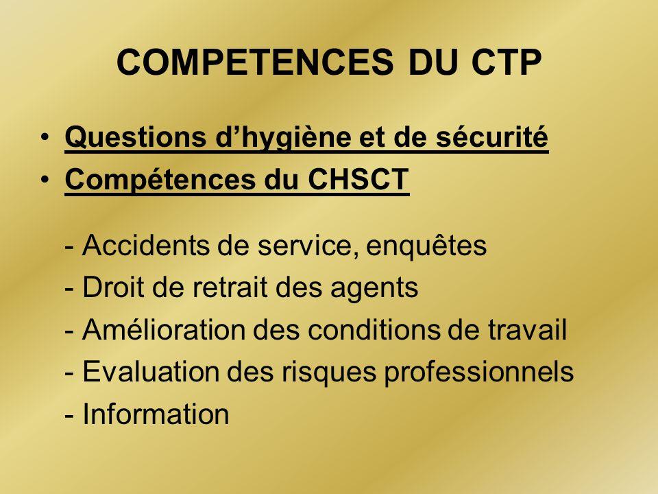 COMPETENCES DU CTP Questions d'hygiène et de sécurité