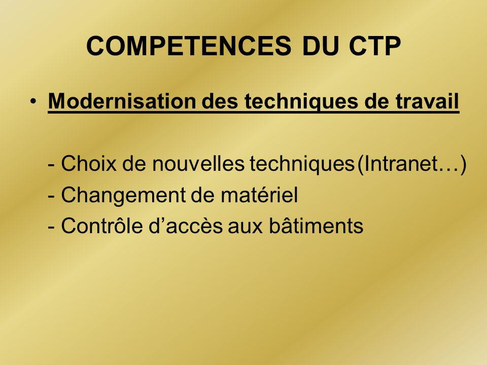 COMPETENCES DU CTP Modernisation des techniques de travail