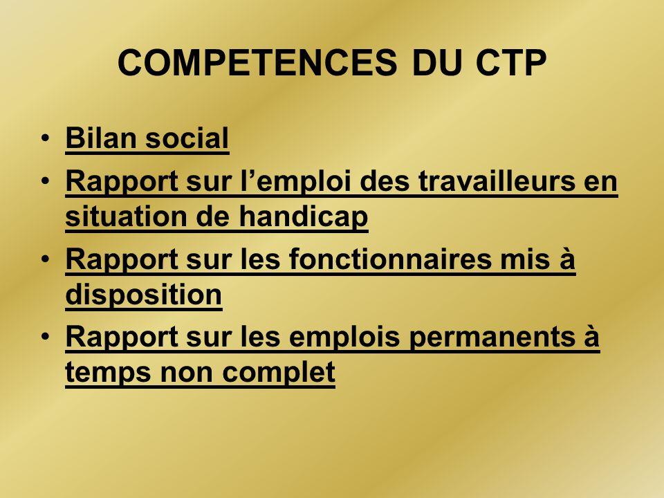 COMPETENCES DU CTP Bilan social