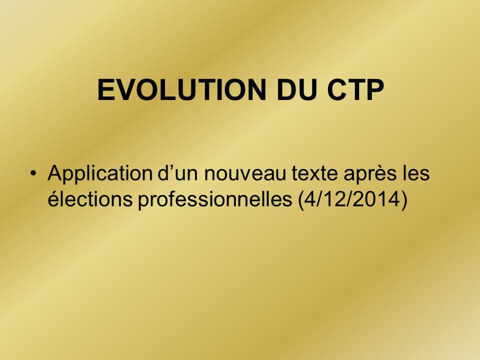 EVOLUTION DU CTP Application d'un nouveau texte après les élections professionnelles (4/12/2014)