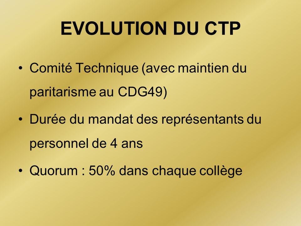 EVOLUTION DU CTP Comité Technique (avec maintien du paritarisme au CDG49) Durée du mandat des représentants du personnel de 4 ans.