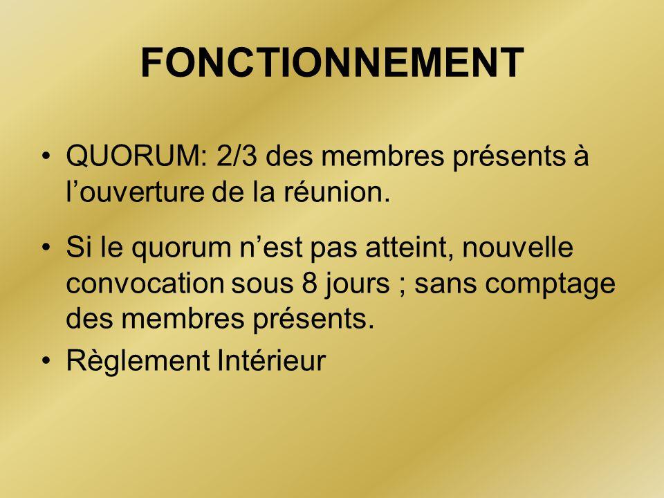 FONCTIONNEMENT QUORUM: 2/3 des membres présents à l'ouverture de la réunion.