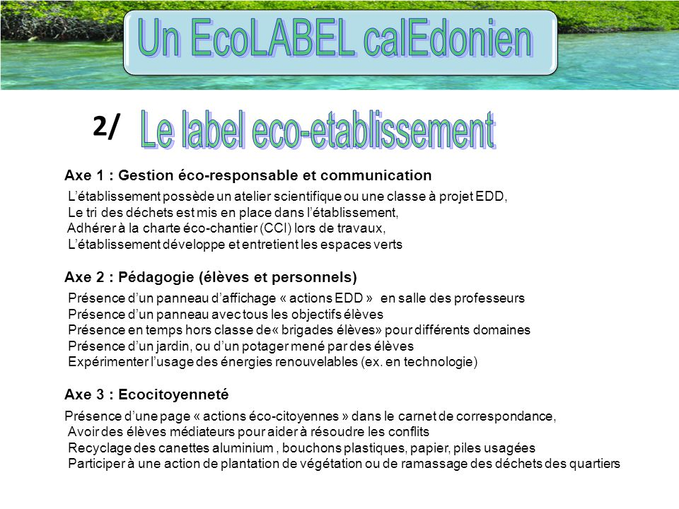 Un EcoLABEL calEdonien