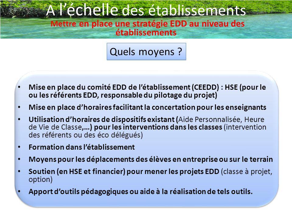 A l'échelle des établissements Mettre en place une stratégie EDD au niveau des établissements