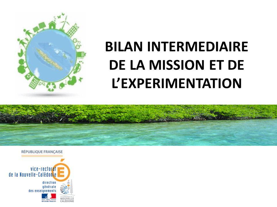 BILAN INTERMEDIAIRE DE LA MISSION ET DE L'EXPERIMENTATION