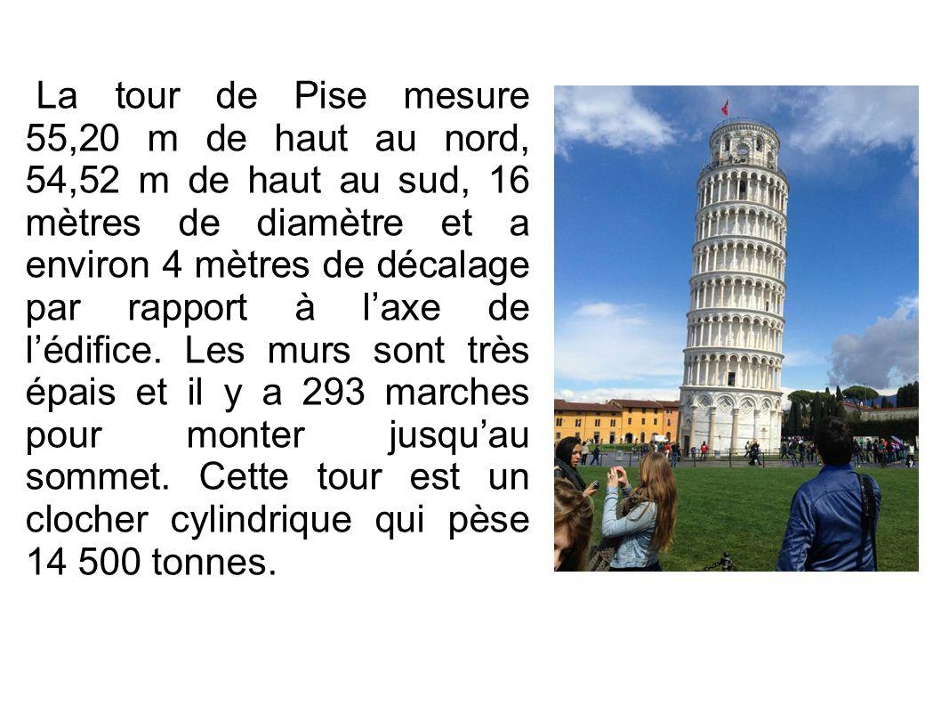 La tour de Pise mesure 55,20 m de haut au nord, 54,52 m de haut au sud, 16 mètres de diamètre et a environ 4 mètres de décalage par rapport à l'axe de l'édifice.