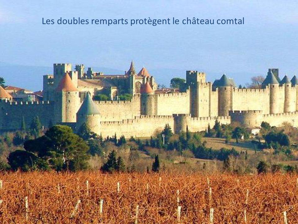 Les doubles remparts protègent le château comtal