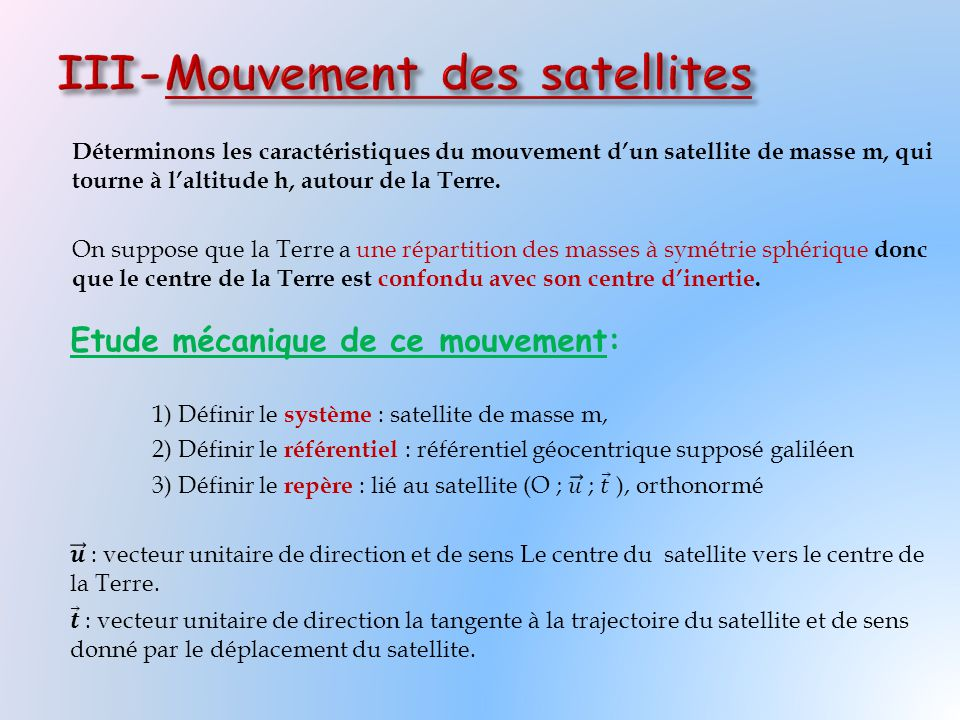 III-Mouvement des satellites