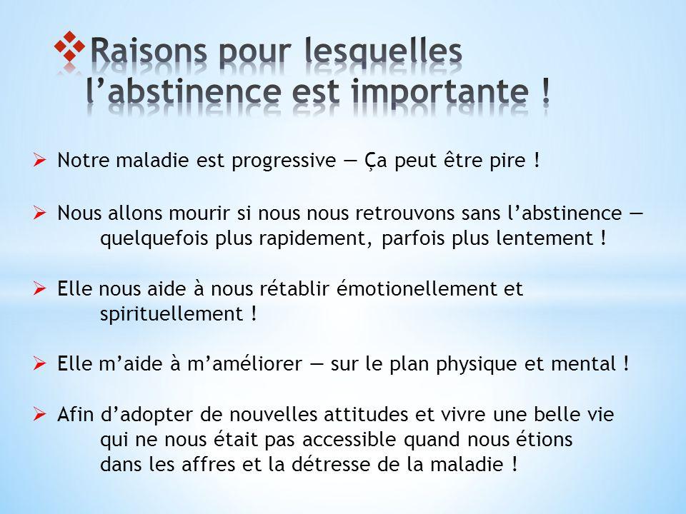Raisons pour lesquelles l'abstinence est importante !
