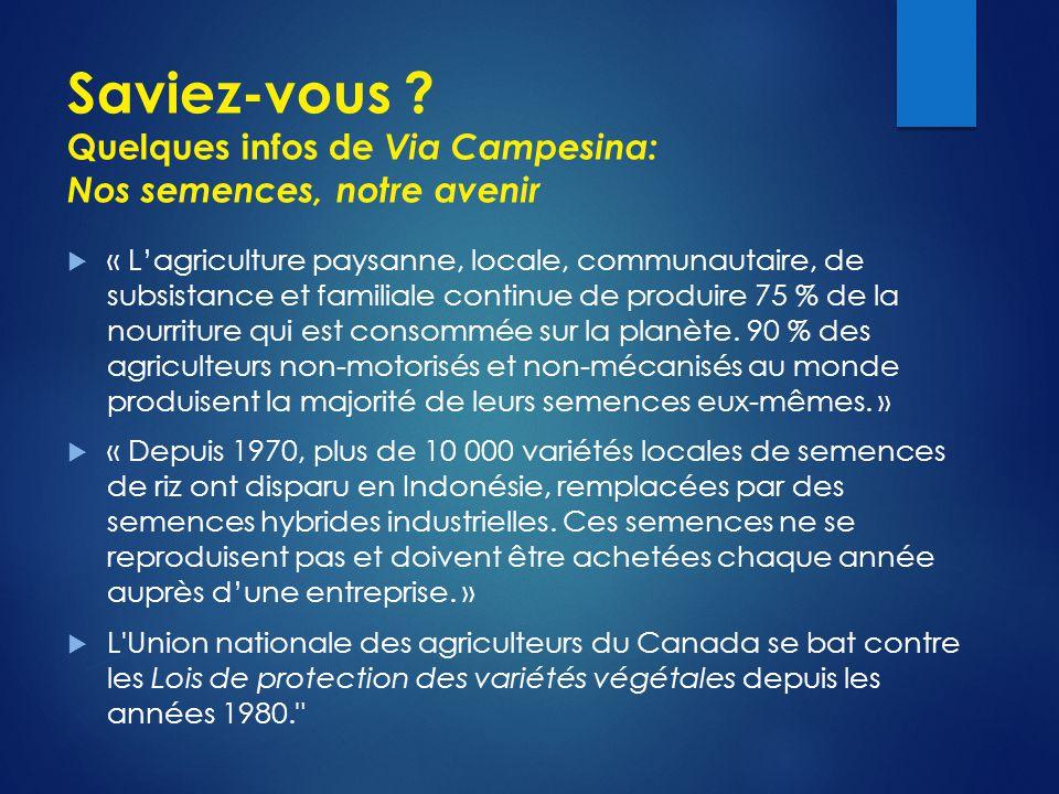 Saviez-vous Quelques infos de Via Campesina: Nos semences, notre avenir