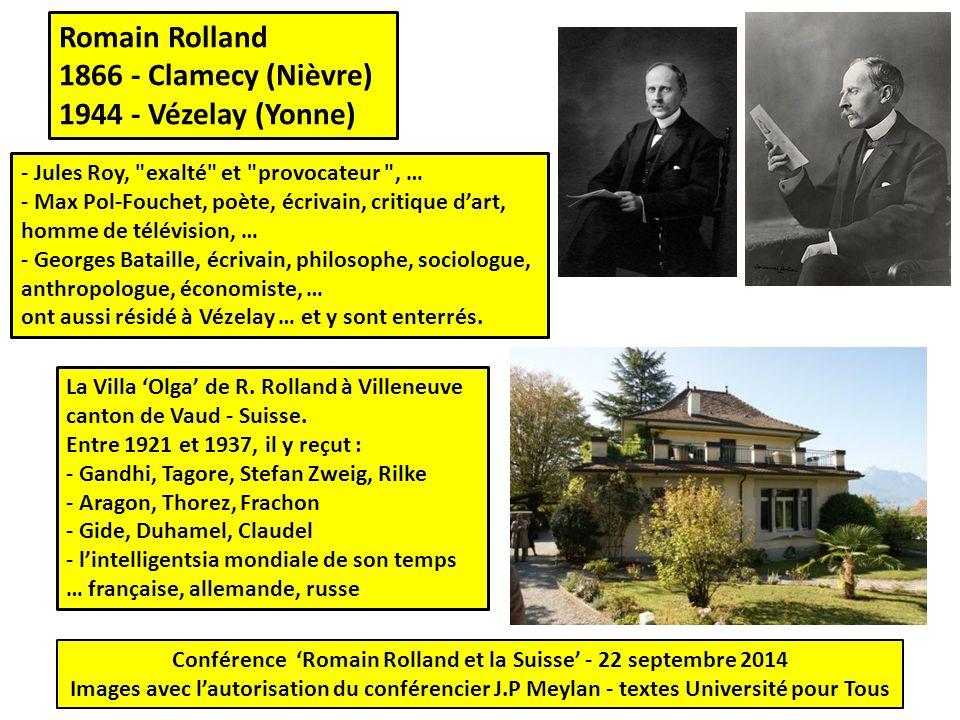 Conférence 'Romain Rolland et la Suisse' - 22 septembre 2014