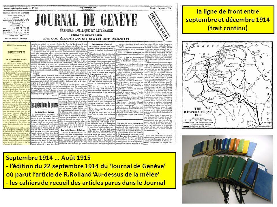 la ligne de front entre septembre et décembre 1914 (trait continu)