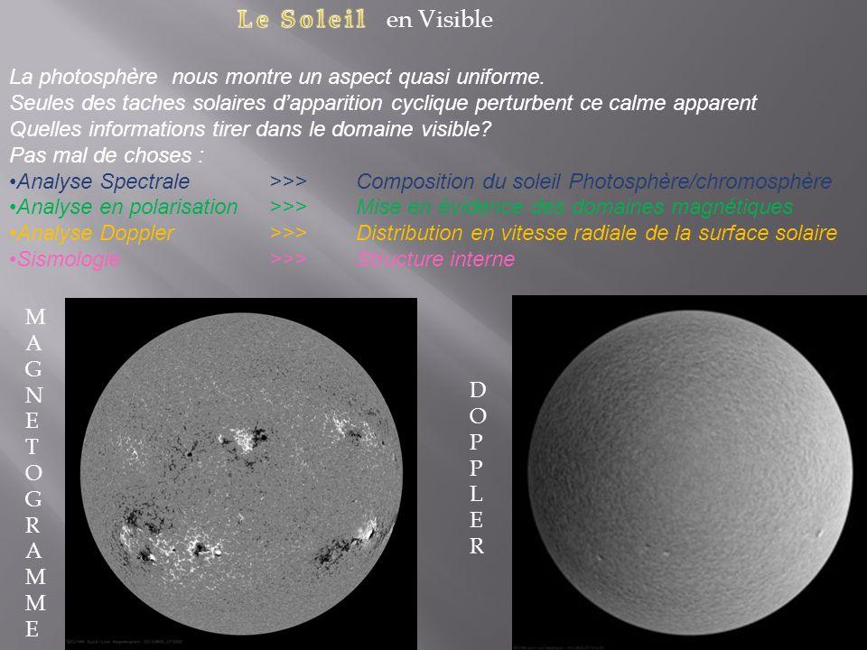 Le Soleil en Visible La photosphère nous montre un aspect quasi uniforme.