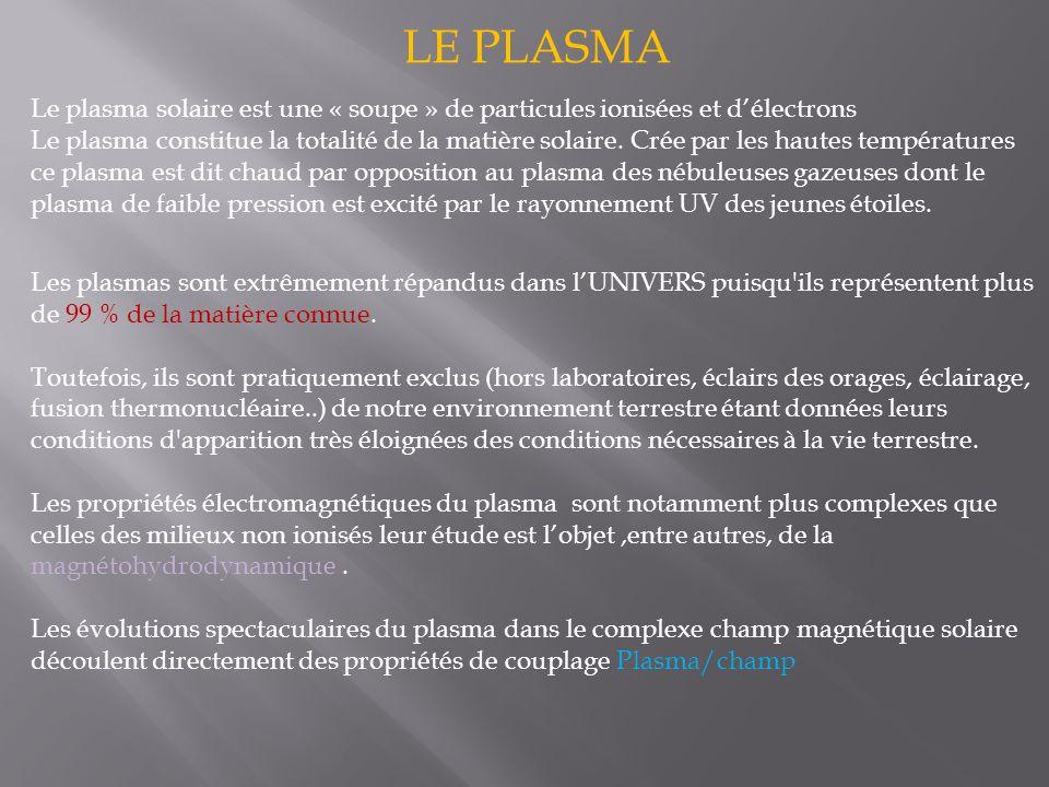 LE PLASMA Le plasma solaire est une « soupe » de particules ionisées et d'électrons.