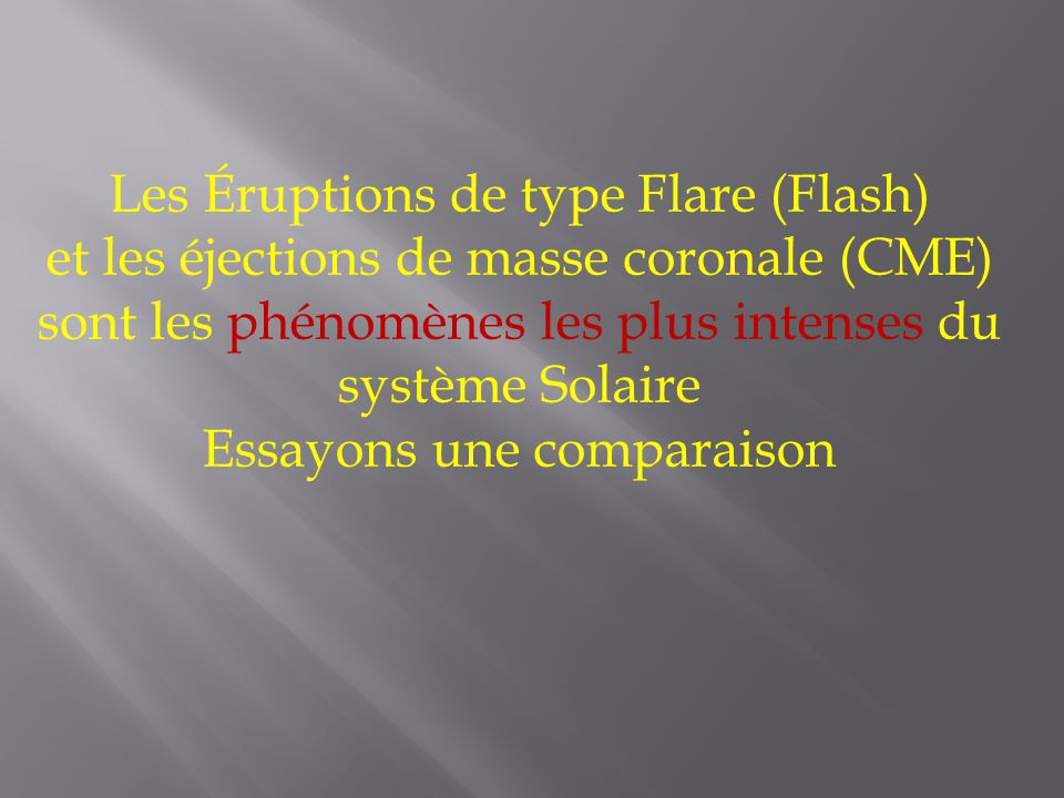 Les Éruptions de type Flare (Flash)