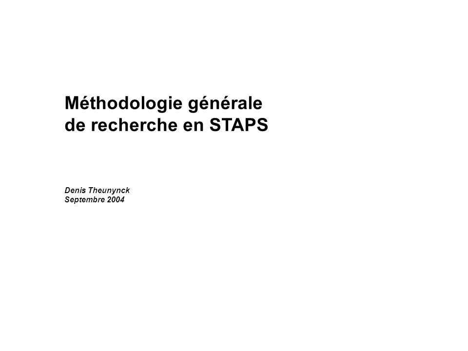 Méthodologie générale de recherche en STAPS