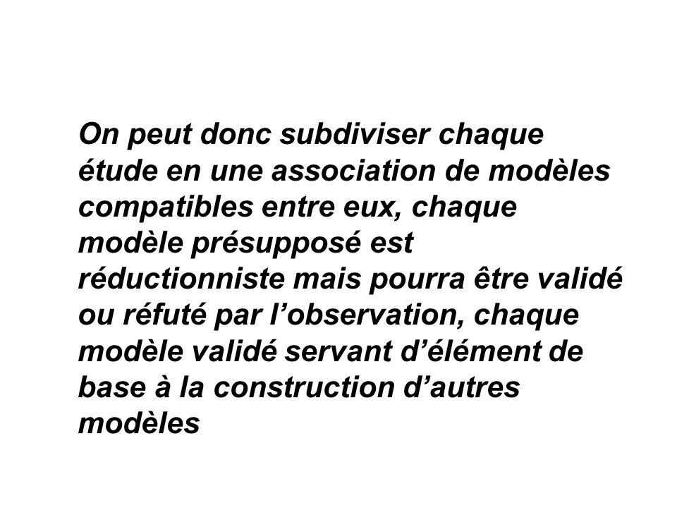 On peut donc subdiviser chaque étude en une association de modèles compatibles entre eux, chaque modèle présupposé est réductionniste mais pourra être validé ou réfuté par l'observation, chaque modèle validé servant d'élément de base à la construction d'autres modèles