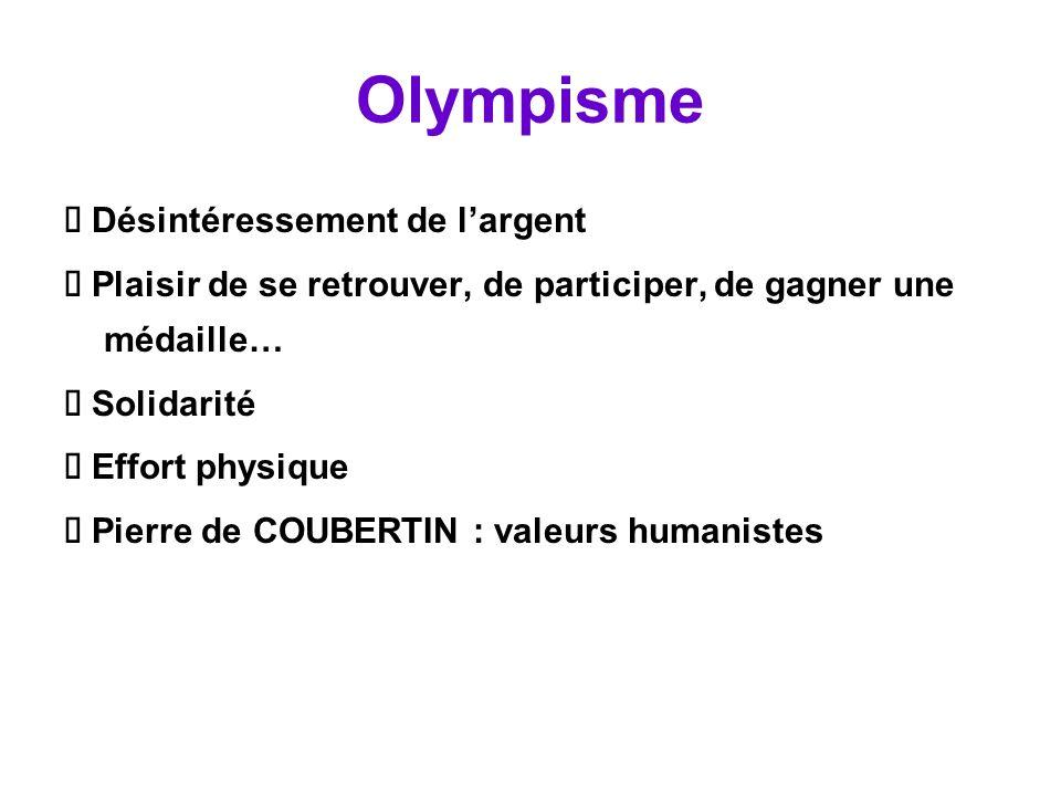 Olympisme Ä Désintéressement de l'argent