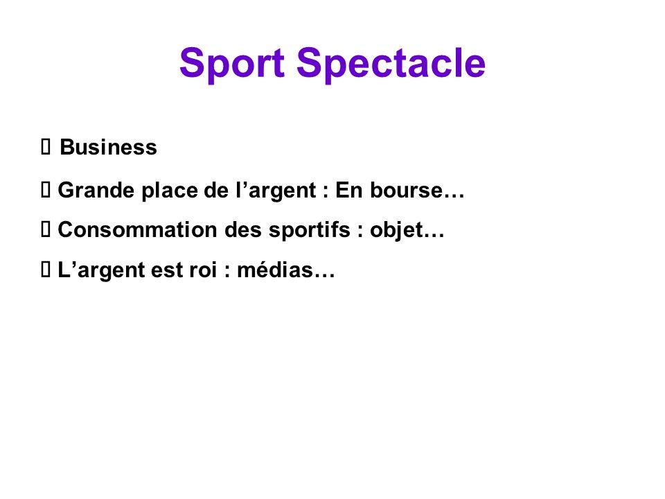 Sport Spectacle Ä Business Ä Grande place de l'argent : En bourse…