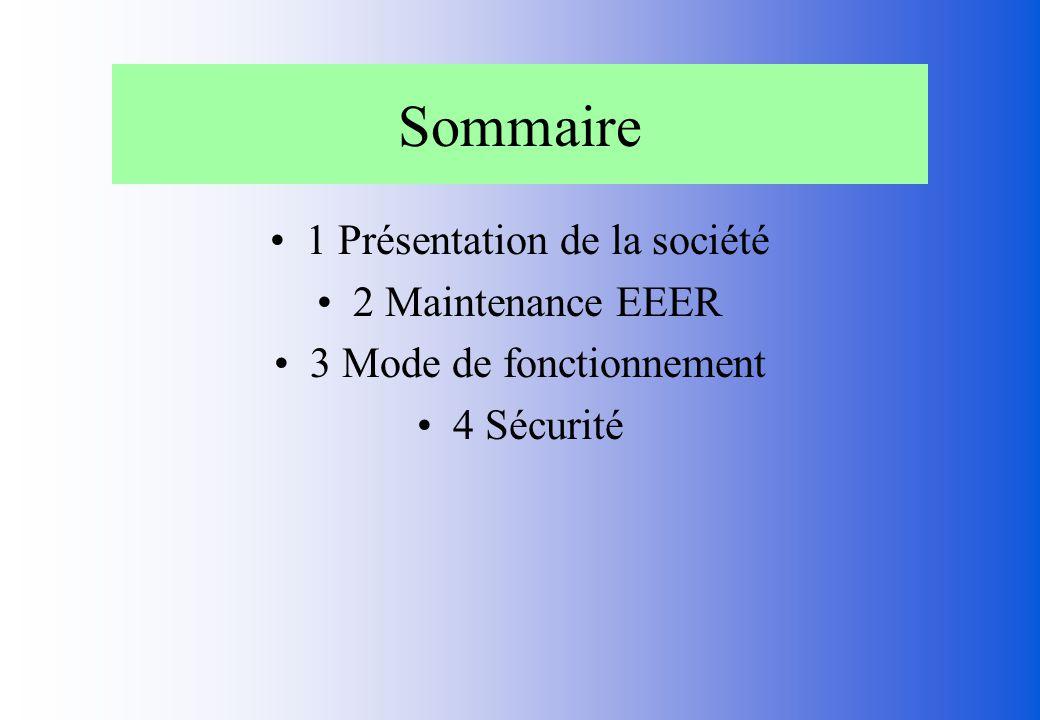 Sommaire 1 Présentation de la société 2 Maintenance EEER