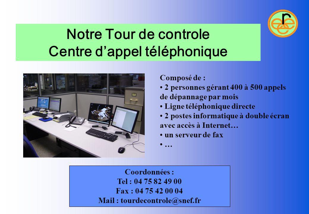 Centre d'appel téléphonique Mail : tourdecontrole@snef.fr
