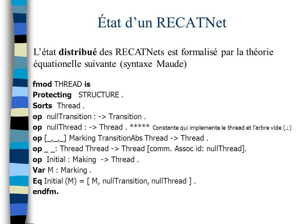 État d'un RECATNet L'état distribué des RECATNets est formalisé par la théorie équationelle suivante (syntaxe Maude)