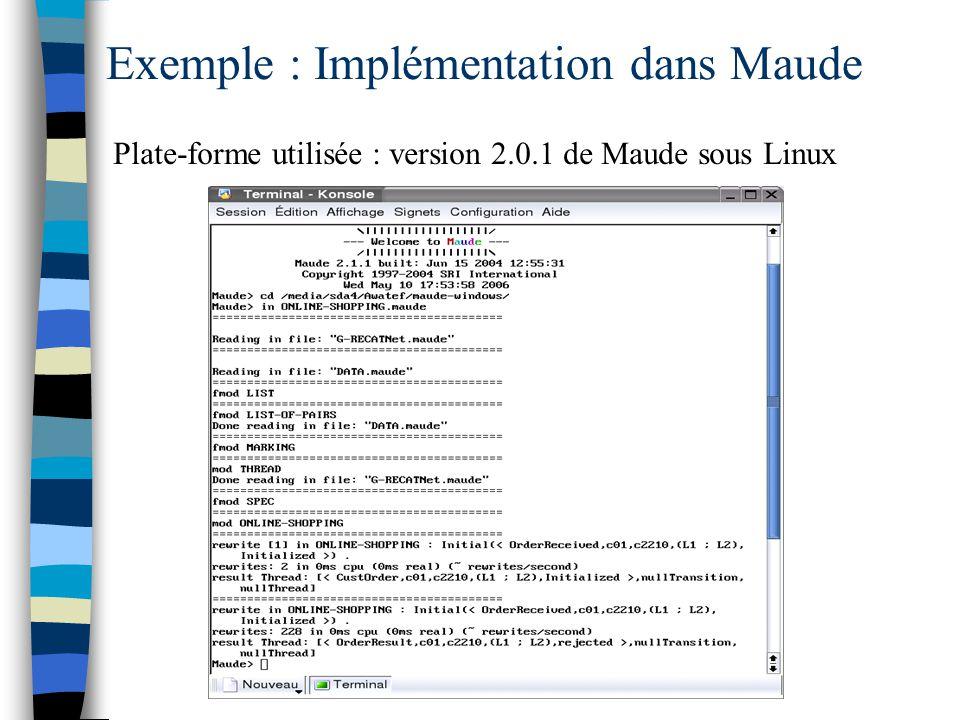 Exemple : Implémentation dans Maude