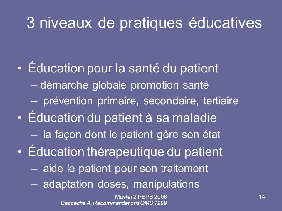 3 niveaux de pratiques éducatives